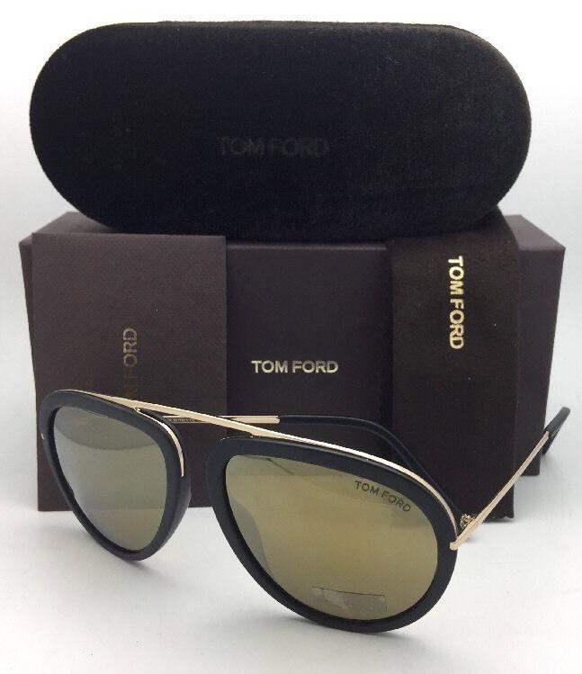 93f7586728c90 New TOM FORD Sunglasses STACY TF 452 02G 57-16 Matte Black-Gold Aviator