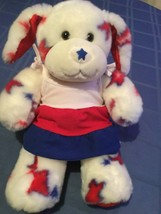 July 4th Build A Bear dog patriotic USA  America 18 in white plush outfit  - $22.99
