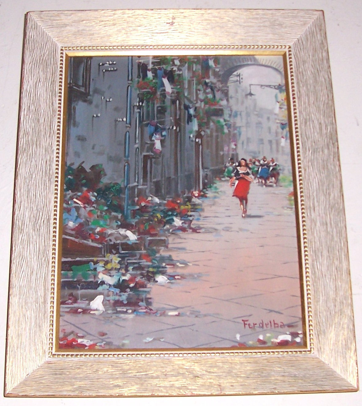 "LISTED Signed Mario Ferdelba European Art Street Scene "" Painting Italy #1"
