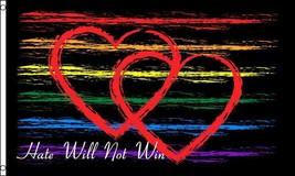 HATE WILL NOT WIN rainbow 3 X 5 FLAG FL750 banner wall hanging new decor... - $6.27