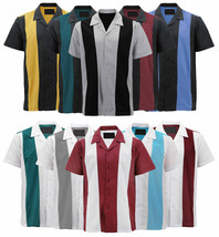 Men's Vintage Casual Two Tone Button Down Classic Retro Guayabera Bowling Shirt image 1