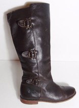 $350 Frye Womens buckle horse Brown Antique Pull Up Paige Tall Riding Boots 7.5 - $125.87