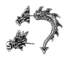 Alchemy Gothic E324  Tor Dragon Earring 8mm metal horn faux-stretcher - $26.95
