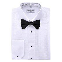 Berlioni Italy Men's Tuxedo Dress Shirt Wingtip & Laydown Collar With Bow-Tie (S