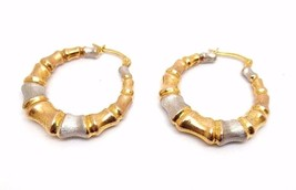 Vintage Multi Tone Rose Yellow White Gold Hoop Earrings Bamboo 28mm Wide... - $182.95
