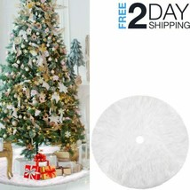 Christmas White Tree Skirt Round Seasonal Mat Base Cover Home Decor Fluf... - $19.79