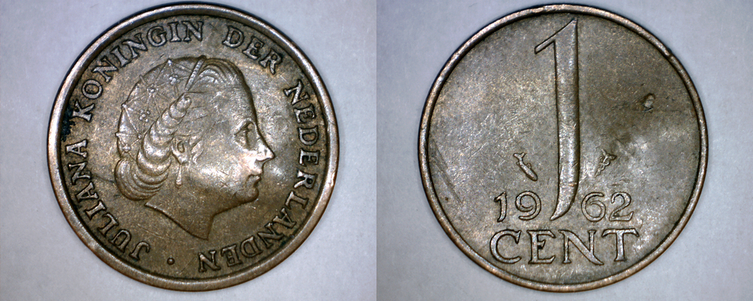 1962 Netherlands 1 Cent World Coin - Bent - $1.79