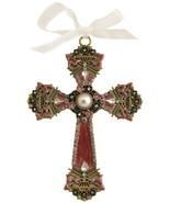 Decorative Cross Ornament Burgundy Swirled Paint and Rhinestones/ Organz... - $10.95