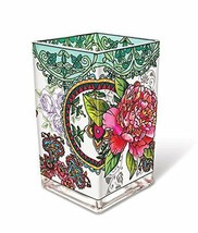 """Peony Floral AMIA Glass Vase Votive Holder 6"""" High Pink Flowers New  - $49.49"""