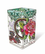 "Peony Floral AMIA Glass Vase Votive Holder 6"" High Pink Flowers New  - $49.49"