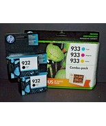 2 Packs HP Hewlett Packard Black Ink 932 1 Combo Pack Color Ink 933 w Pa... - $34.64