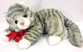 "Ty Classic Al E Kat Curled Kitty Cat Gray Striped 14"" Plush Stuffed Animal 1995 - $22.95"