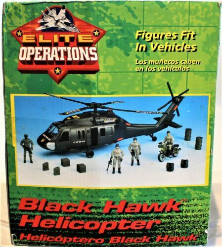 Black Hawk Helicopter 1:18 Scale Action Figure & Motorcycle Elite Operations  image 6