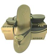 Crocs Sanrah Wedge Flip Flop Womens Size 11 Espresso Khaki 30203 - $79.19