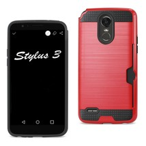 Reiko Lg Stylo 3- Stylus 3 Slim Armor Hybrid Case With Card Holder In Red - $7.20