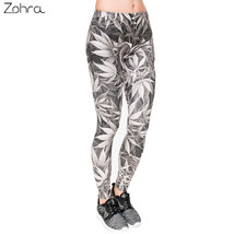 Zohra High Quality Leggings Women Gray Leaves Printing Fitness Legging S... - $36.00