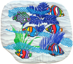 Crayon Fish in the  Sea: Quilted Art wall hanging - $385.00
