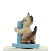 Hagen Renaker Miniature Cat Siamese Kitten with Scratching Post Ceramic Figurine image 1