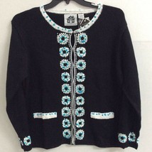 Storybook Knits Womens Cardigan Sweater Black White Floral Beads Crochet... - $39.59