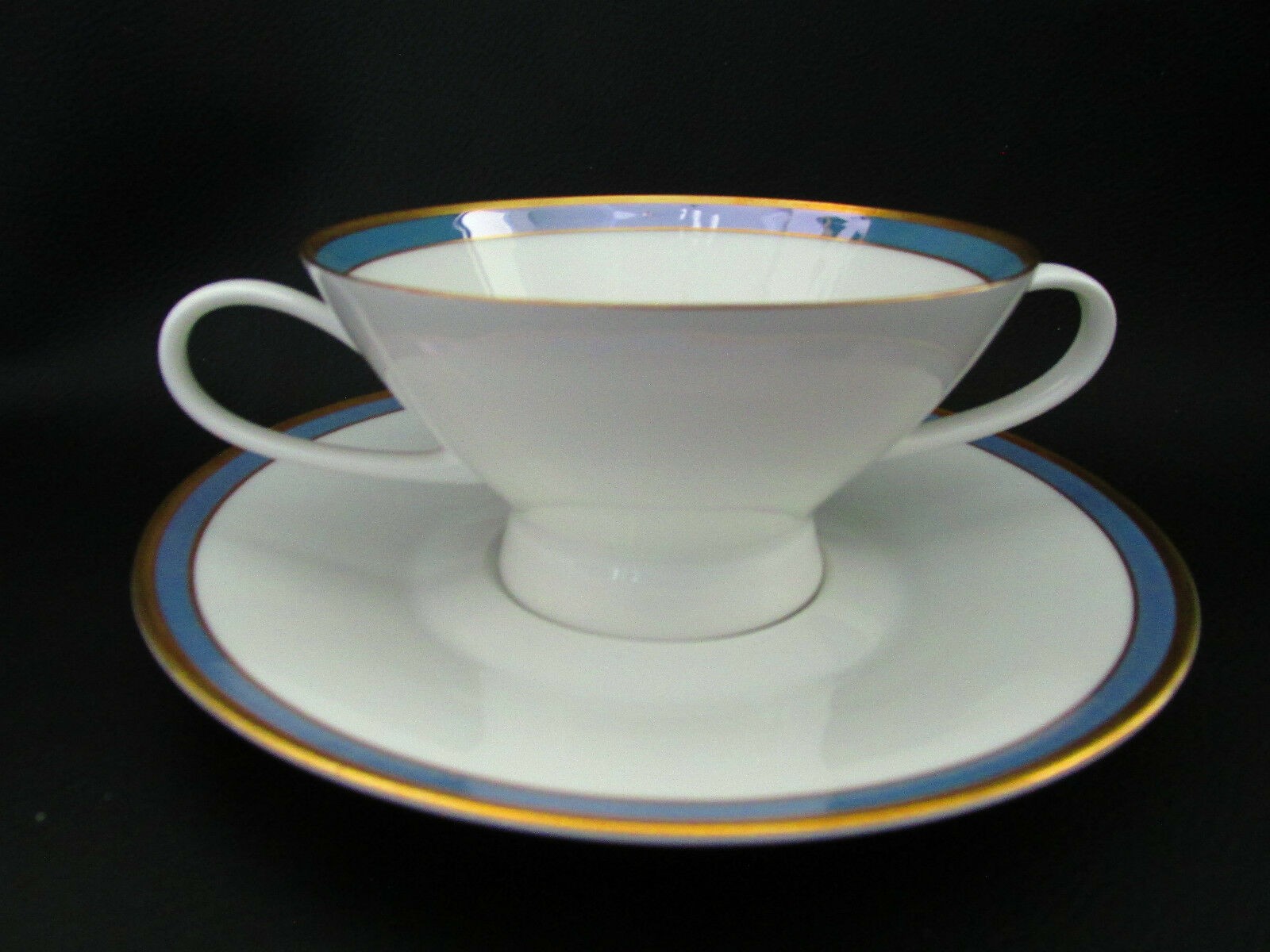 Primary image for Rosenthal Gala Blue CLASSIC ROSE Cream Soup Bowl Cup & Saucer Loewy Mid Century