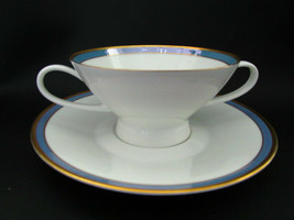 Rosenthal Gala Blue CLASSIC ROSE Cream Soup Bowl Cup & Saucer Loewy Mid ... - $28.99