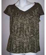 Charter Club Top M Artsy Stretch Knit Green Brown Shirt Blouse Women's M... - $10.00