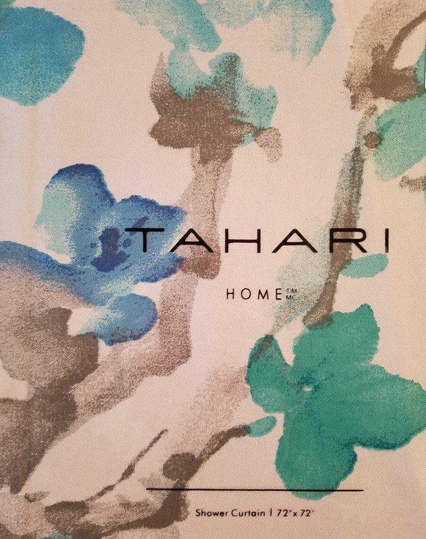 Tahari Printemps 2 Aqua Teal Gray Floral on White Shower Curtain