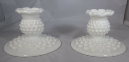 "Fenton - Milk Glass 2 Candle Holders White Hobnail 3"" Tall 4.5"" Base Vin... - $7.92"