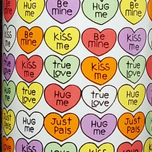 Candy Hearts Love Valentine Coffee Mug Cup Food Enesco Chris Davenport 1986 Vtg - $19.87