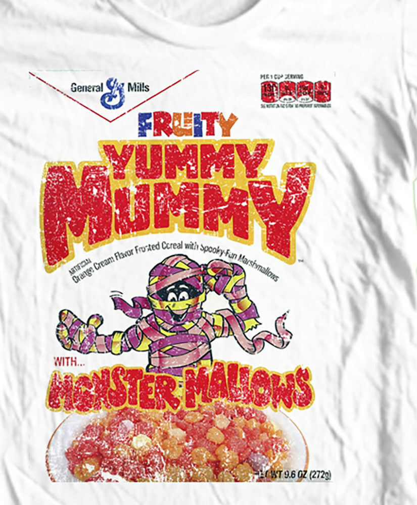 Yummy Mummy T-shirt  Cereal box Boo-Berry Count Chocula 1970s 1980s cotton tee