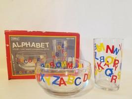 Vintage Libbey Alphabet 2 Piece Set Children's Child's Cereal Bowl & Jui... - $8.90