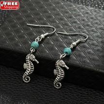 Natural Stone Beads Earrings Vintage Seahorse Dangle Earrings Summer Bea... - $4.70
