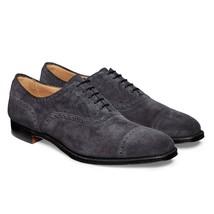 Handmade Men's Dark Grey Suede Heart Medallion Dress/Formal Oxford Shoes image 4