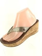 Sam Edelman Romy Womens Sandal Platform Wedge Heels 7.5 Silver Snake Print Cork  - $26.72