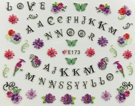 Nail Art 3D Decal Stickers Letters Love Flowers Birds Butterfly E173 - $3.09