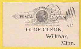 GRAND LODGE OF MINNESOTA RED WING MINNESOTA 2/6/1893 POSTAL CARD - $2.98