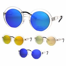 Color Mirror Mid Century Deco Round Metal Rim Retro Sunglasses - $12.95