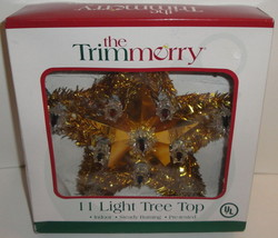 THE TRIMMERRY STAR TREE TOPPER - 11 Light Tree Top Lighted Gold Tinsel C... - $9.49