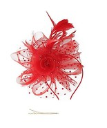 Fascinators Hat Flower Mesh Ribbons Feathers on a Headband and a Clip Te... - $14.29