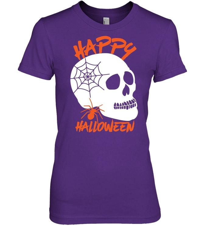 Funny Happy Halloween Sweater Creepy Spider and Spooky Skull