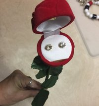 Vintage Clear Rhinestone Stud Earrings in Red Flocked Long Stem Rose Gif... - $22.99