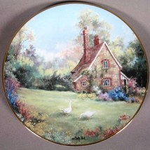 """Marty Bells """"The Gameskeeper Cottage"""" collectors plate Rimmed w/23kt yellow gold - $69.30"""