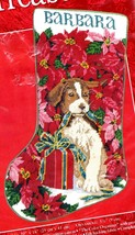 Needle Treasure Poinsettia Pup Spaniel Dog Puppy Needlepoint Stocking Ki... - $144.95