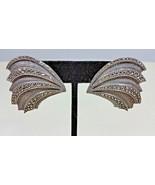 Vintage Judith Jack Sterling Silver Marcasite Fan Feather Pierced Earrings - $199.99