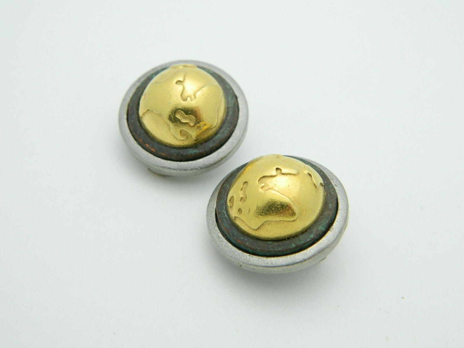 LCI Liz Claiborne Globe Silver Gold Tone Round Clip Earrings Vintage
