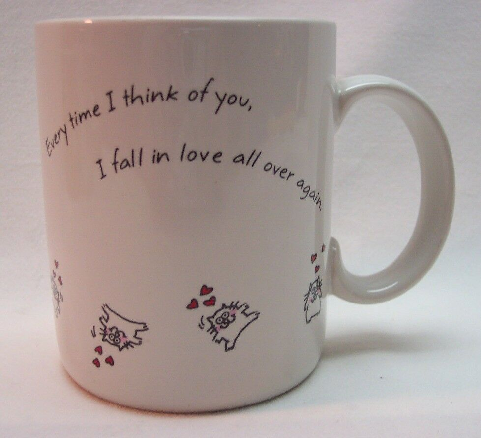 Primary image for CUTE VINTAGE HALLMARK SHOEBOX FALL IN LOVE CAT COFFEE MUG CUP 1986