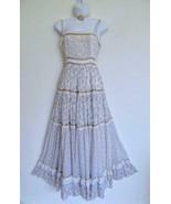Vtg 70s Gunne Sax Maxi Sun Dress 9 XS Tan Floral Voile Lace Ribbon Tiere... - $450.00