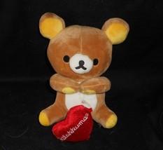 "7"" SAN-X RILAKKUMA BROWN BABY TEDDY BEAR W RED HEART STUFFED ANIMAL PLUS... - $22.21"