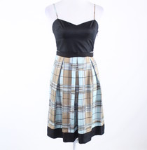 Black blue plaid 100% silk BCBG MAX AZRIA spaghetti strap A-line dress 2 - $24.99