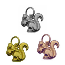 Rose / Gold Plated / 925 Sterling silver 3D tree ground Squirrel with nu... - $20.78+